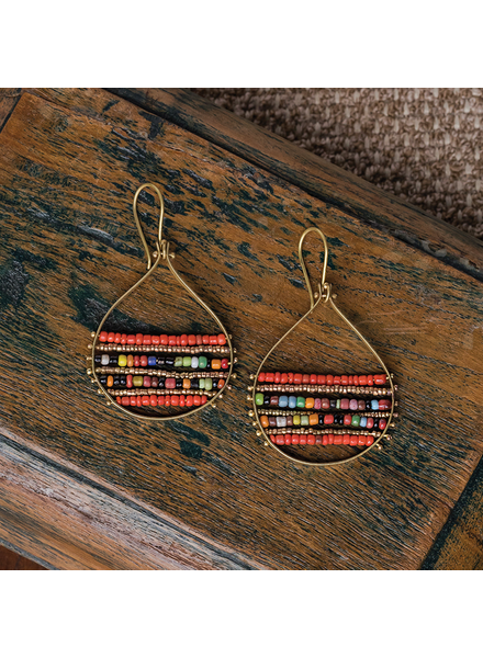 OraTen Mela Beaded Earrings - Red + Multi