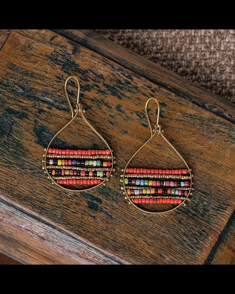 OraTen Mela Beaded Earrings - Red + Multi
