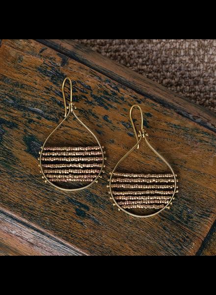 HomArt Mela Beaded Earrings - Brass