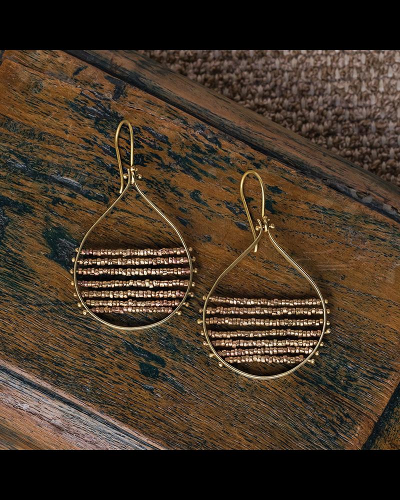 OraTen Mela Beaded Earrings - Brass