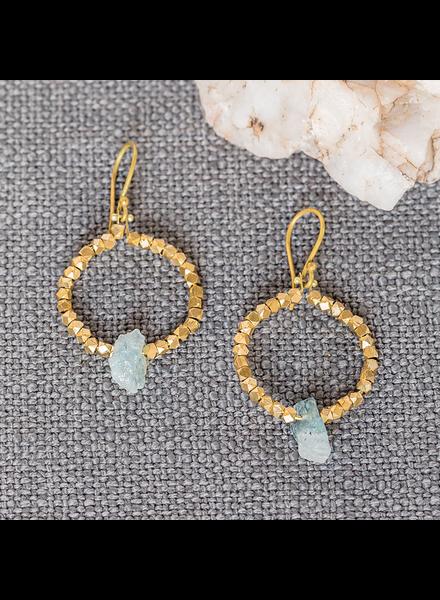 OraTen Cerc Earrings - Raw Aquamarine