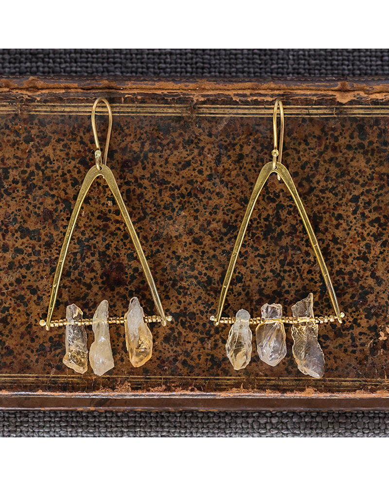 OraTen Pinnacle Earrings - Raw Citrine