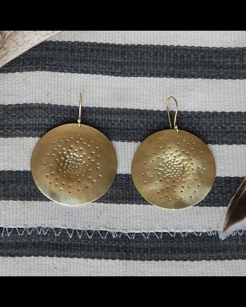 OraTen Brass Center Punch Earrings