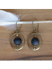 OraTen Brass Earrings with Floating Horn Bead - Dark Horn