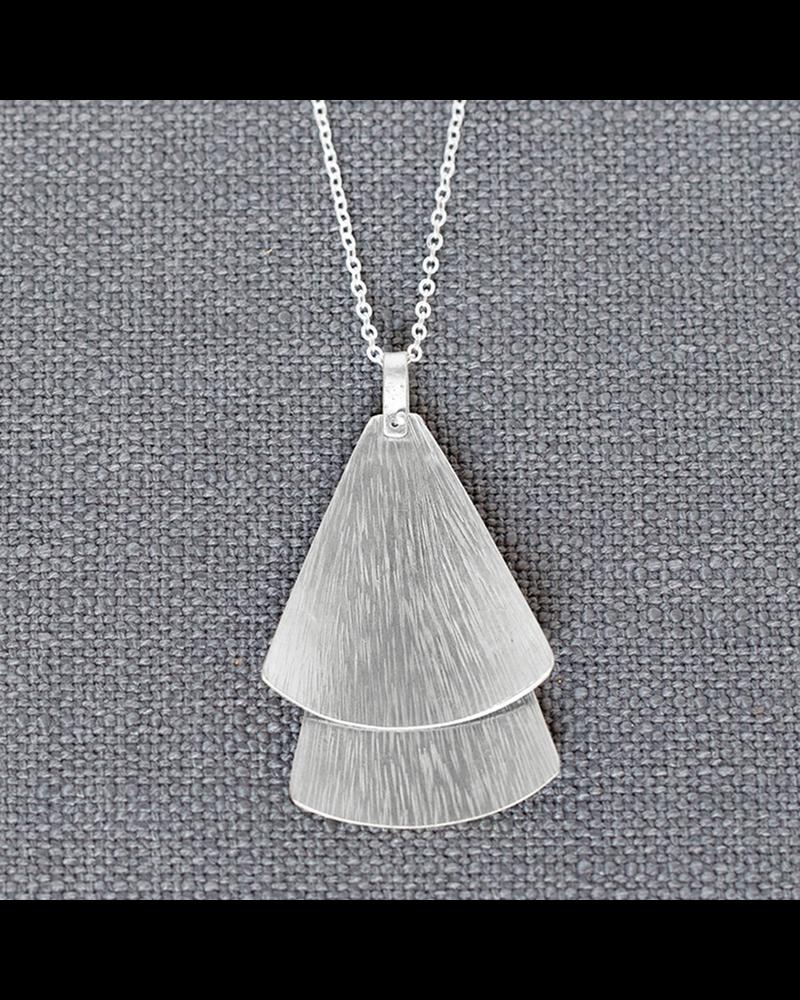 OraTen Silver Double Gingko Necklace