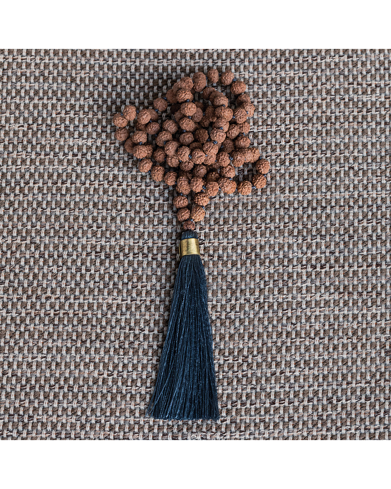 OraTen Mala and Tassel Necklace - Stone Blue