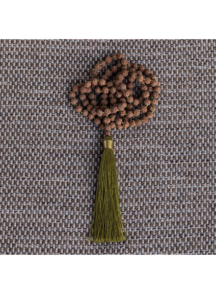 OraTen Mala and Tassel Necklace - Chartreuse