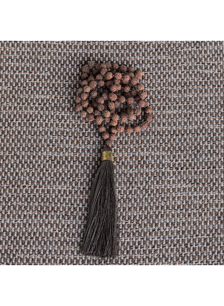 OraTen Mala and Tassel Necklace - Grey