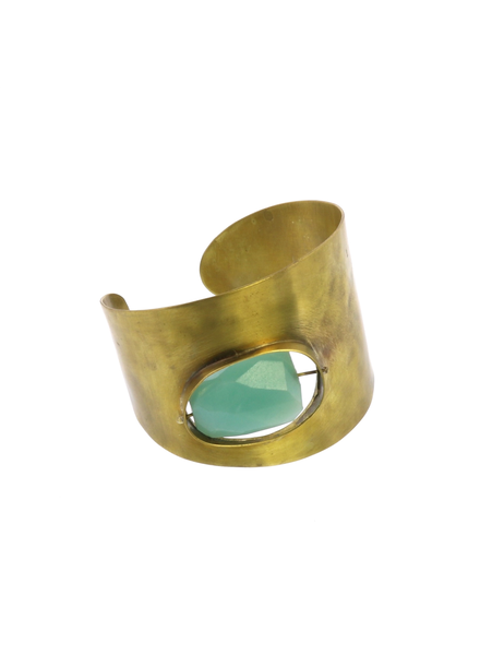 OraTen Floating Stone Brass Cuff - Amazonite
