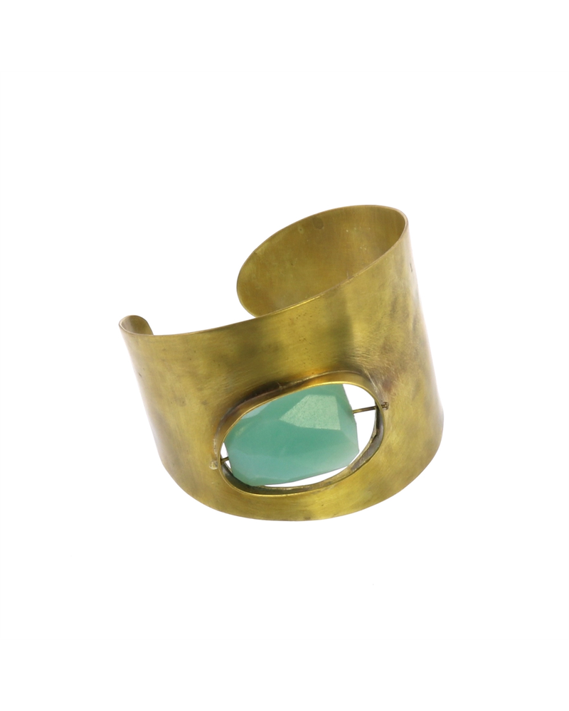 OraTen Floating Stone Brass Cuff - Amazonite
