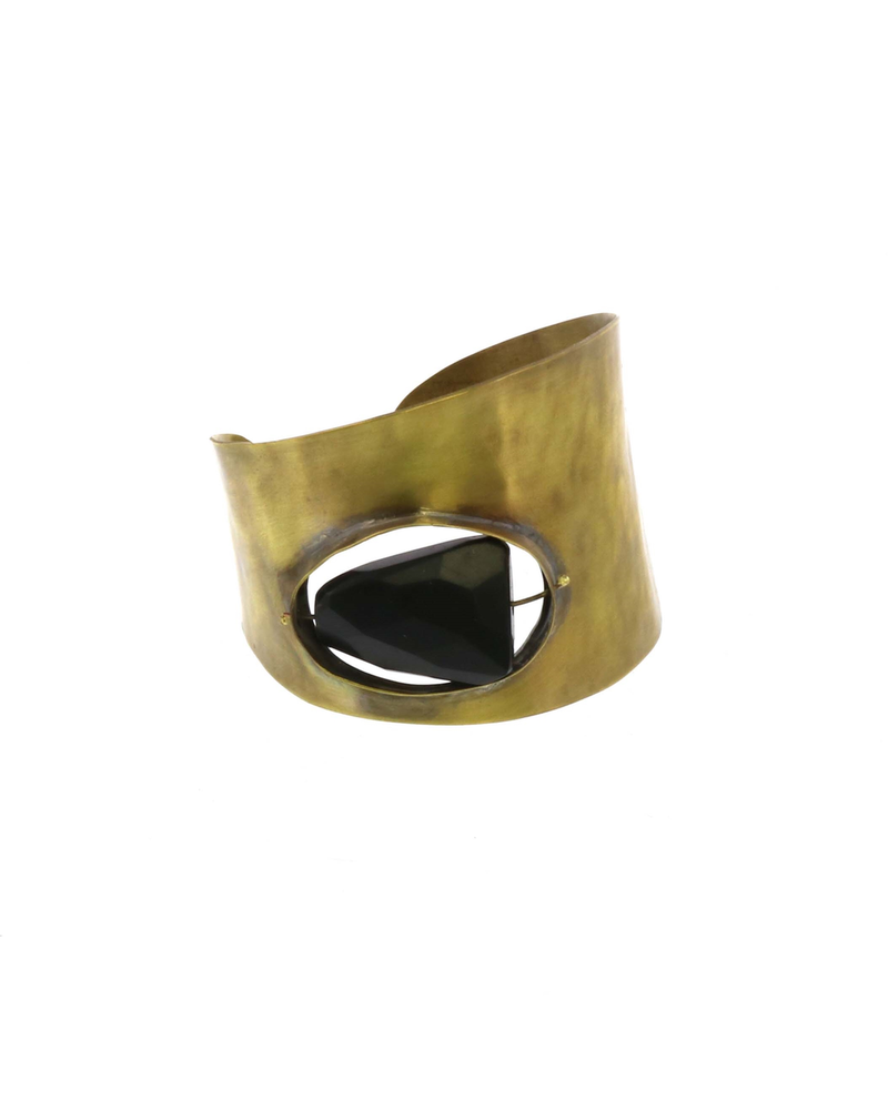 OraTen Floating Stone Brass Cuff - Matte Black Onyx