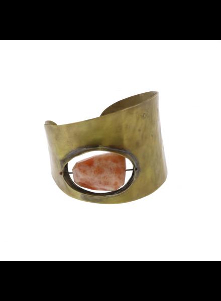 OraTen Floating Stone Brass Cuff - Sunstone