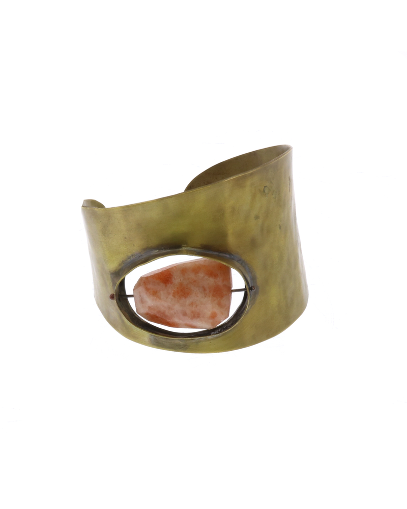OraTen Floating Stone Brass Cuff - Sunstone