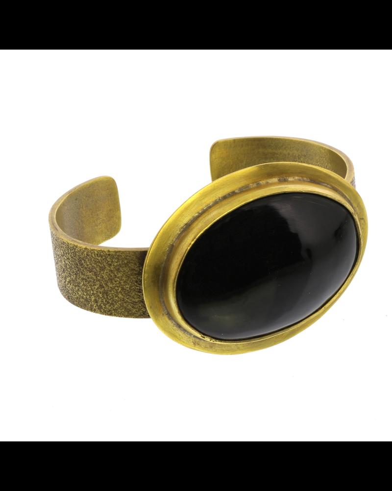 HomArt Bezel Brass Cuff - Horn