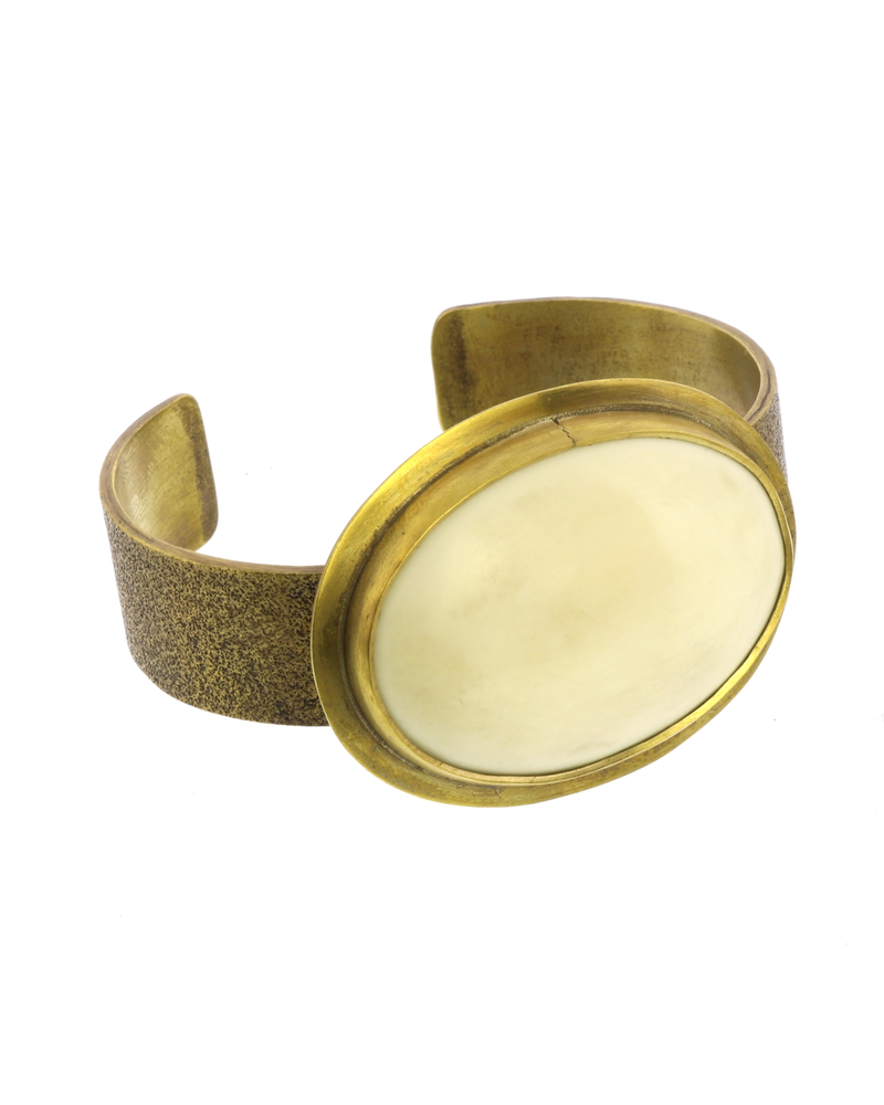 OraTen Bezel Brass Cuff - Bone