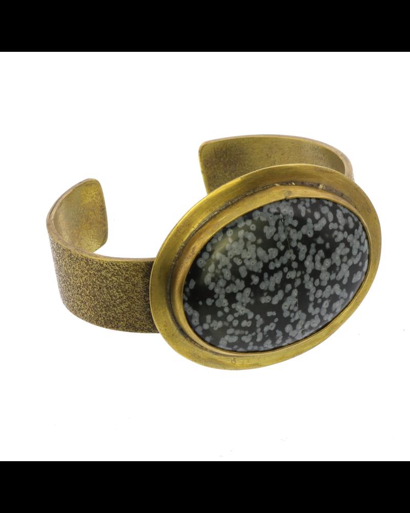 HomArt Bezel Brass Cuff - Snowflake Obsidian
