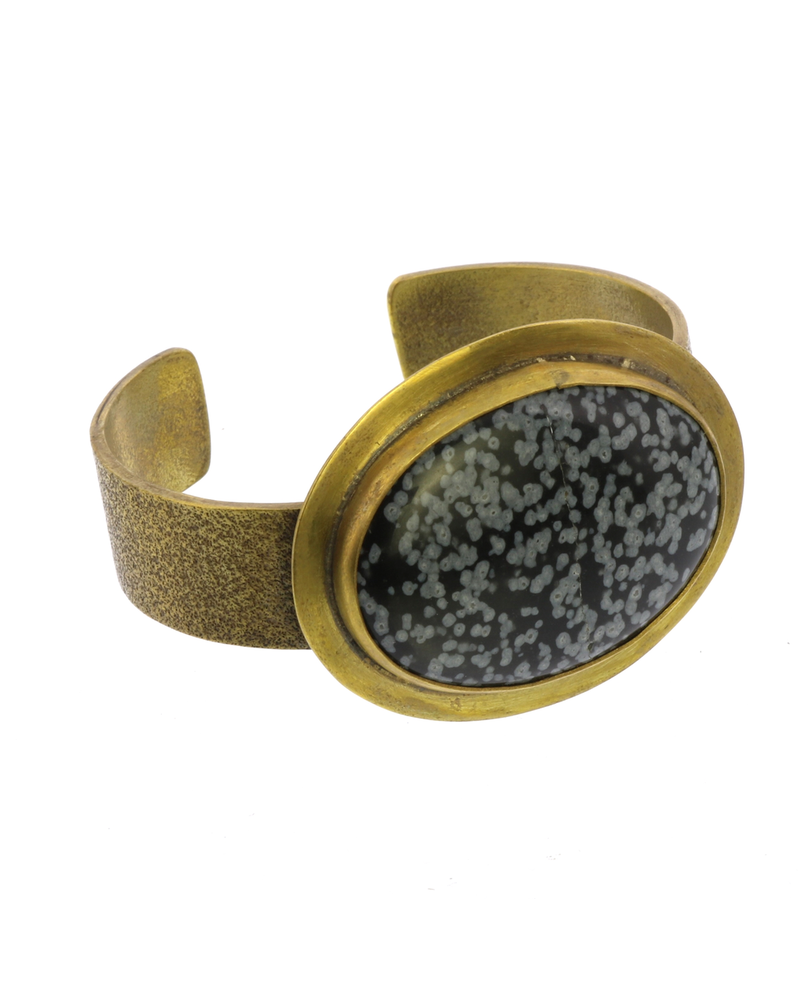 OraTen Bezel Brass Cuff - Snowflake Obsidian