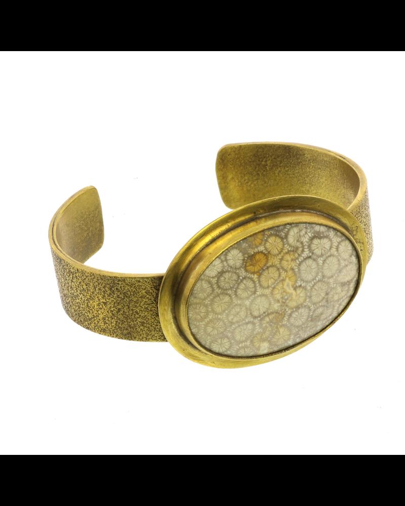 OraTen Bezel Brass Cuff - Fossilized Coral
