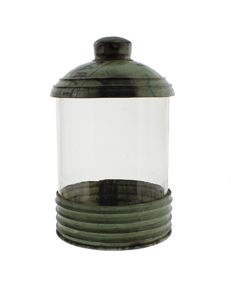 HomArt Glass & Reclaimed Metal Canister - Sm - Green