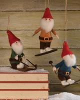 HomArt Felt Gnome Ornaments, Set of 3