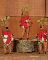 HomArt Felt Reindeer Ornaments, Set of 3