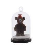 HomArt Snow Globe Brown Bear Ornament  Brown with Hat