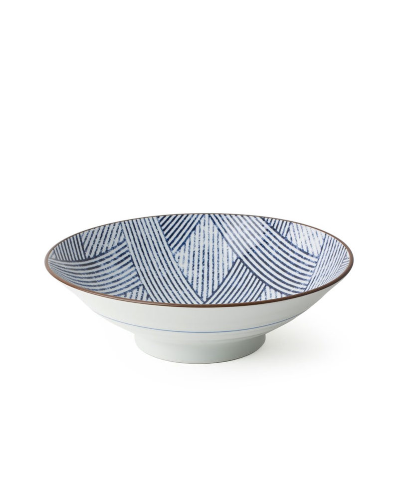 """Miya Company Aizome Shima Ami 9.75"""" Serving Bowl"""