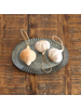HomArt Carved Wood Vegetable Ornament - Garlic - Set of 2