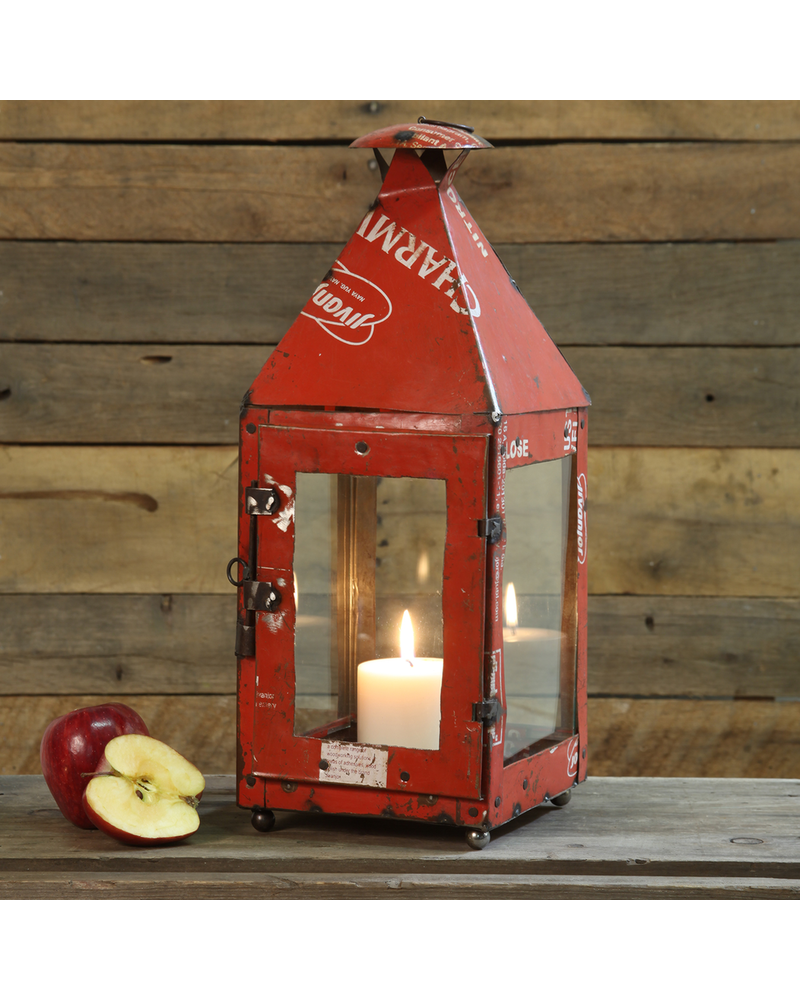 HomArt Reclaimed Metal Gatehouse Lantern - Red