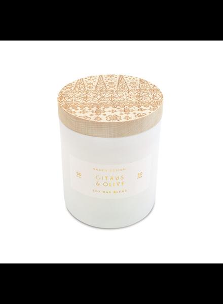 Citrus & Olive Print Block Candle