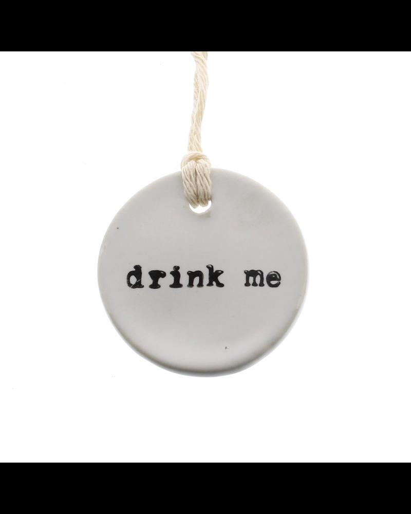 HomArt Drink Me Round Ceramic Tag - Set of 4