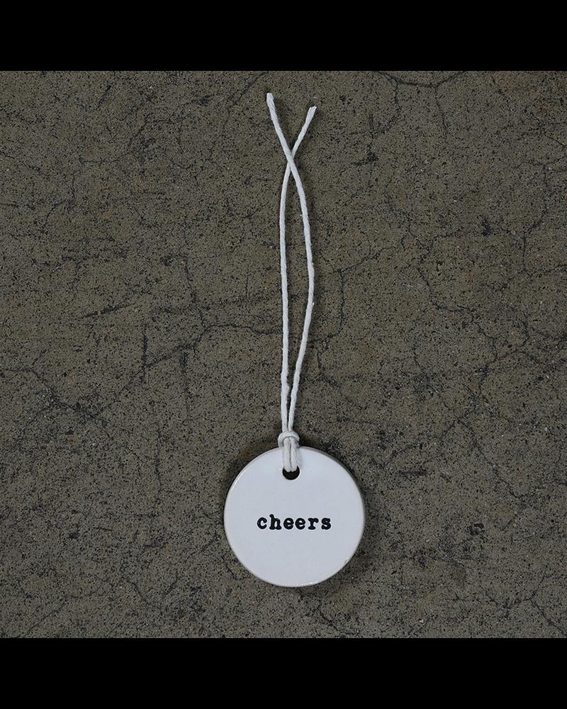 HomArt Cheers Round Ceramic Tag - Set of 4