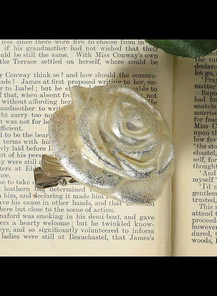 HomArt Belle's Glass Rose - Silver Glitter - Set of 4