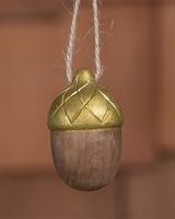 HomArt Carved Wood Acorn in Brown & Gold - Set of 4