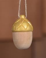 HomArt Carved Wood Acorn in Natural & Gold - Set of 4