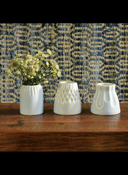 HomArt Matte Blue Margot Vase - Scallop - Set of 2
