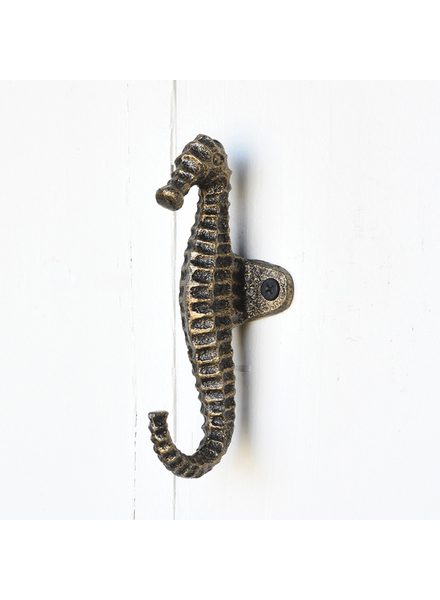 HomArt Seahorse Wall Hook in Brass Finish - Set of 2