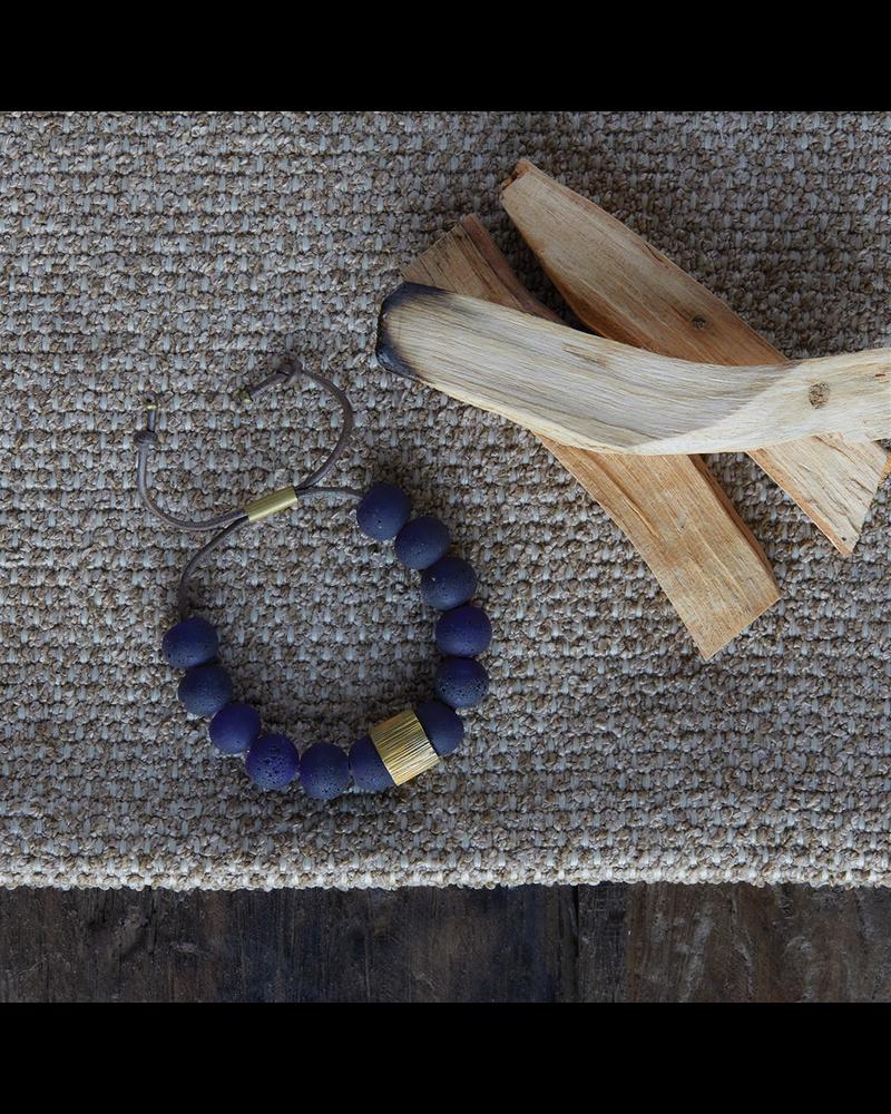 OraTen Cerro Bracelet, Glass Bead & Brass - Cobalt