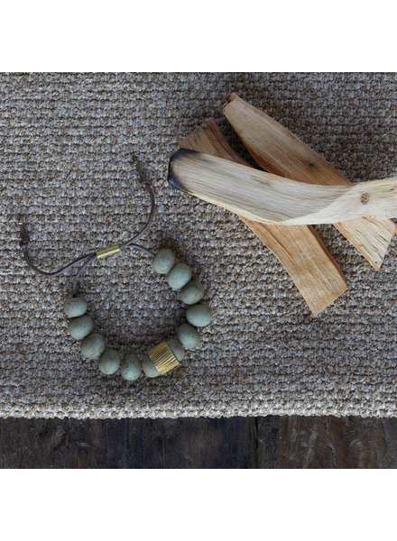 OraTen Cerro Bracelet, Glass Bead & Brass - Sage Green