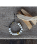 OraTen Cerro Bracelet, Glass Bead & Brass - White