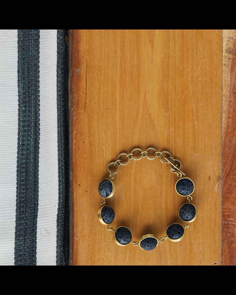 OraTen Nevis Lava Loop Bracelet - Brass