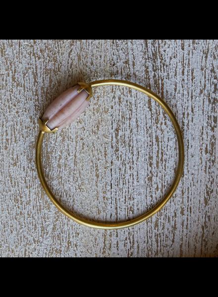 OraTen Melon Bead Bangle - Pink, Brass