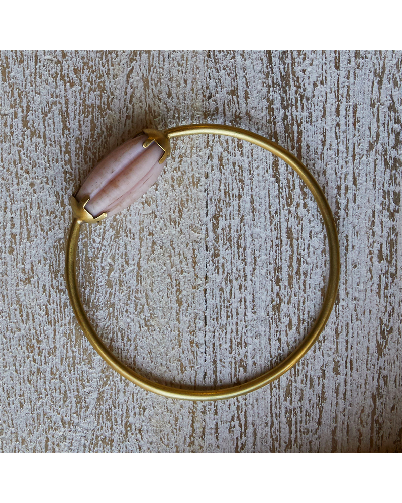 OraTen Melon Bead Bangle - Pink, Brass