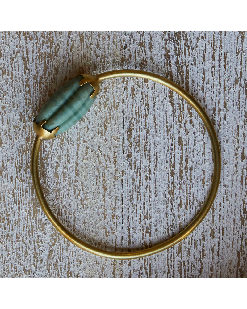OraTen Melon Bead Bangle - Green, Brass