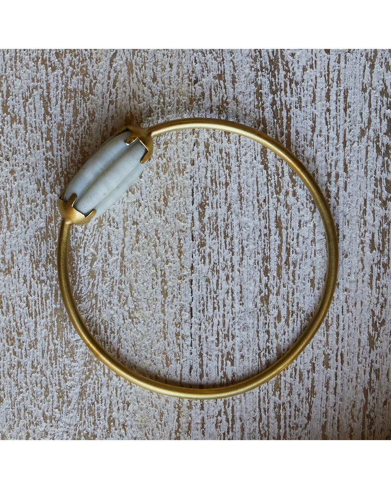 OraTen Melon Bead Bangle - White, Brass