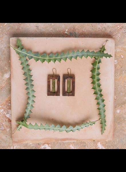 OraTen Tahoe Earrings, Rectangle - Brass & Wood