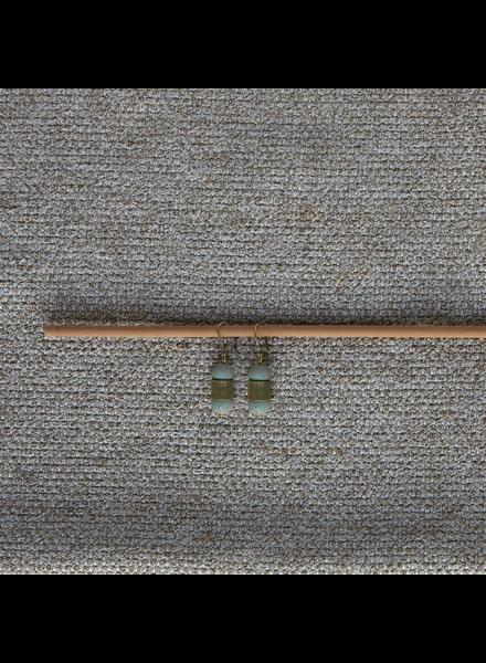 OraTen Cerro Earrings, Glass Bead & Brass - Sage Green