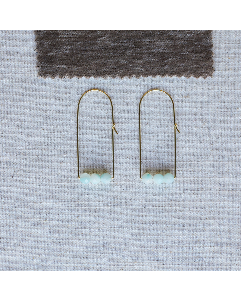 OraTen Ava Earrings, Brass Dome - Amazonite