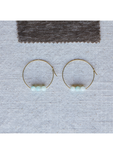 OraTen Ava Earrings, Brass Hoop - Amazonite