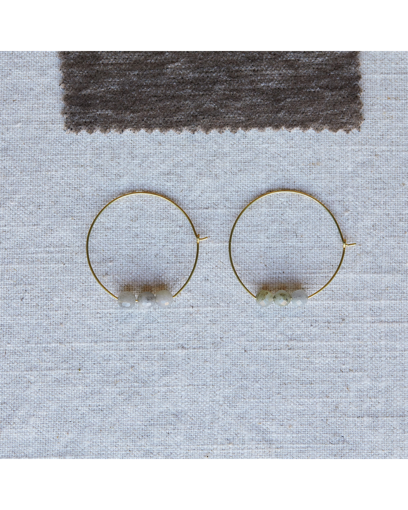 OraTen Ava Earrings, Brass Hoop - Labadorite